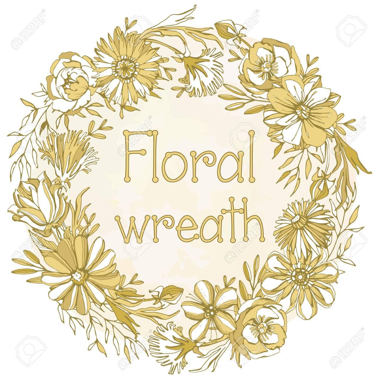 豪華な花の花輪美しい花やかわいい花弁から編まれるゴージャスなゴールド リースの非常に詳細なベクトル画像のイラスト