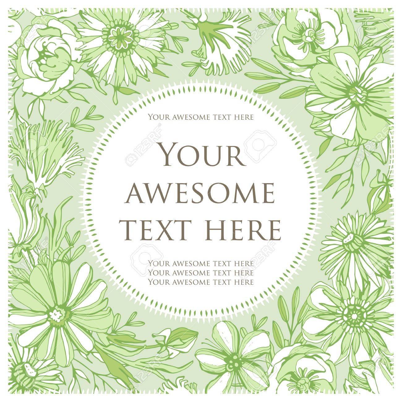 Bunte Postkarte. Grüne Blumen Von Einer Kreisförmigen Form Mit Text ...