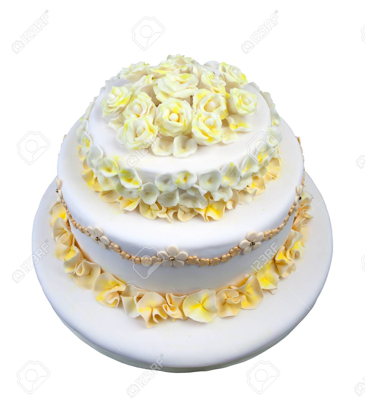 Wedding Cake With White And Yellow Flowers Isolated On White Stock ...