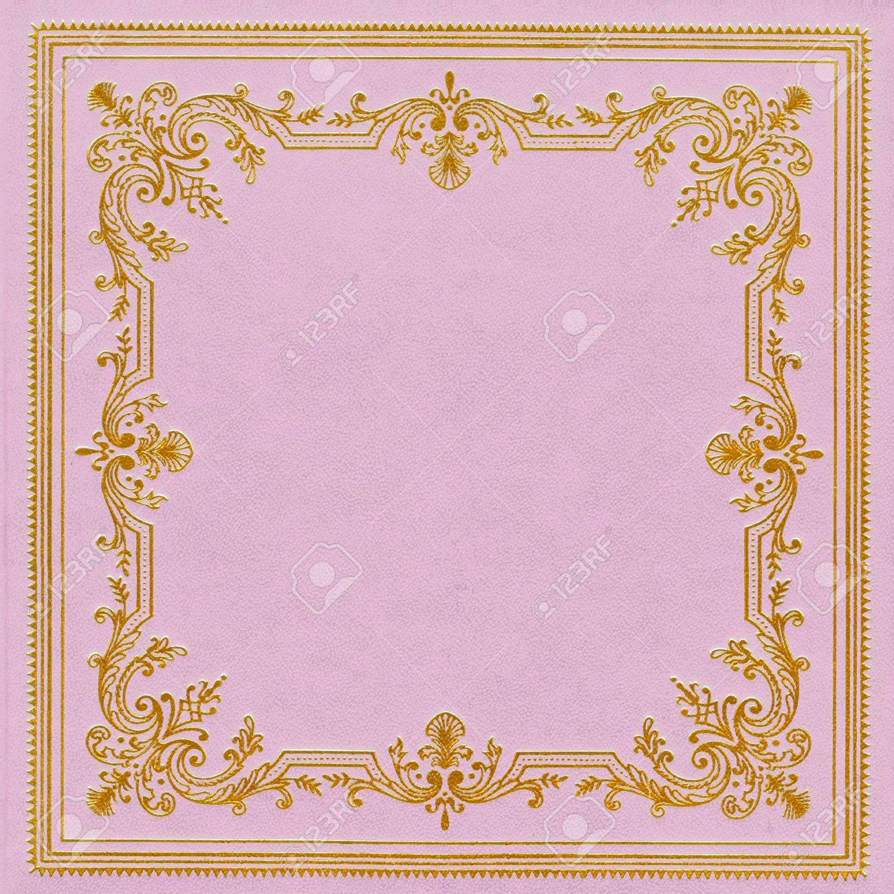 Couverture De Livre En Cuir Rose Et Dore