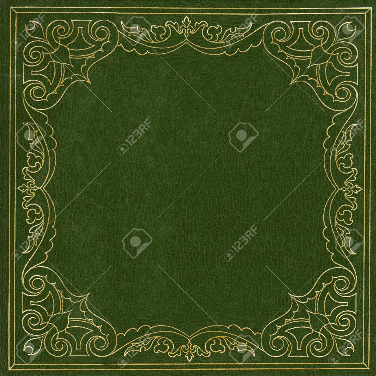 Couverture De Livre En Cuir Vert Et Dore