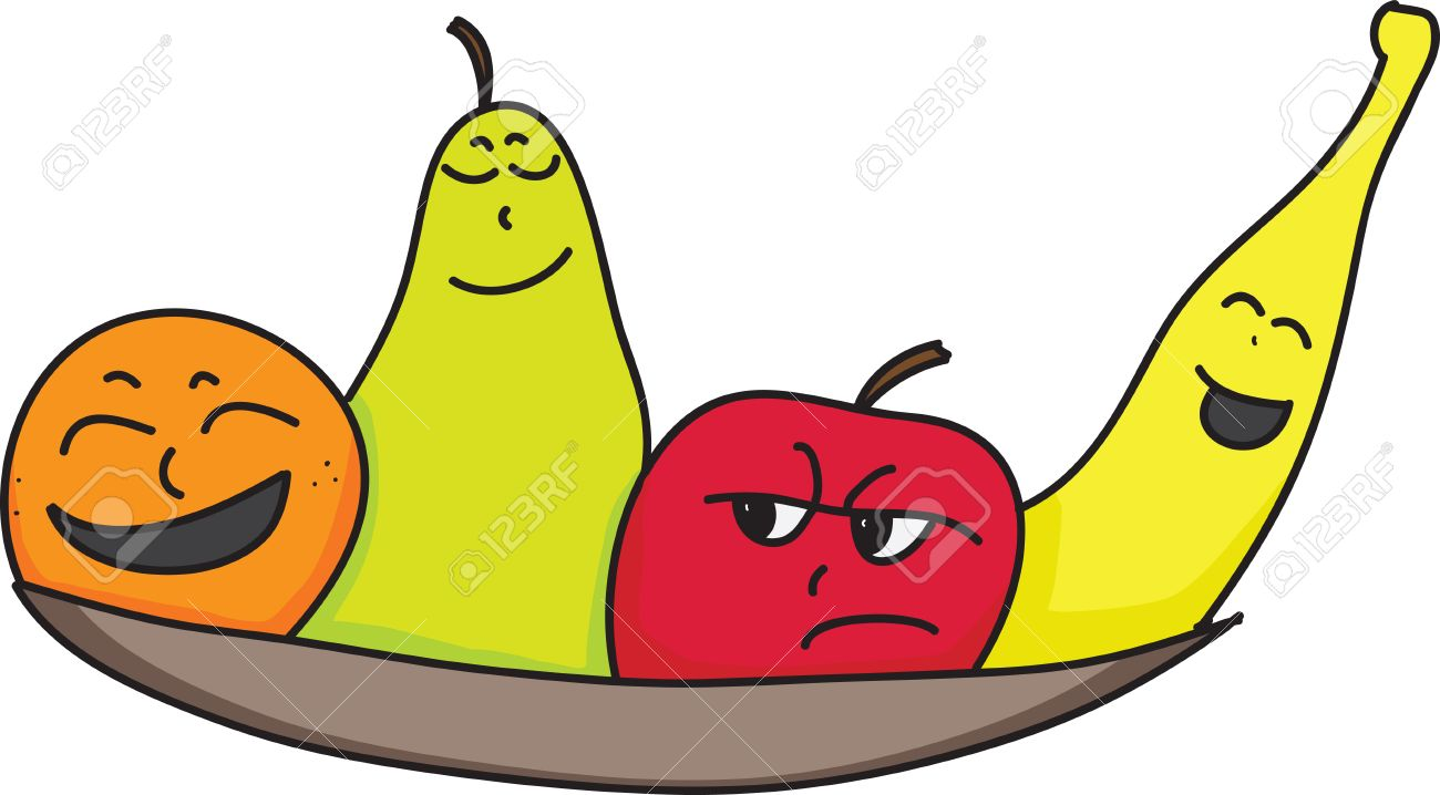 Cartoon Orange Pear Apple And Banana Characters With Faces Showing