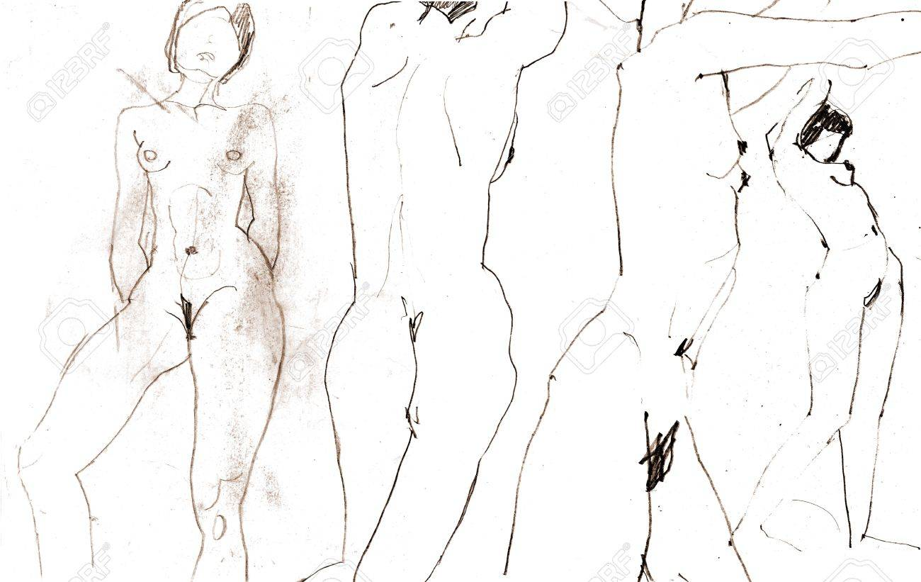 Scanning of sketches with the naked women Stock Photo - 1952895