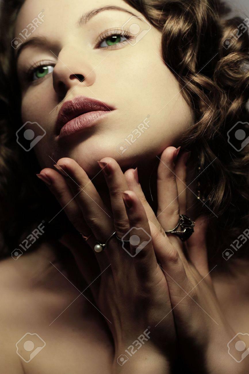 Beautiful woman. Fashion art photo. Close-up makeup Stock Photo - 2038994