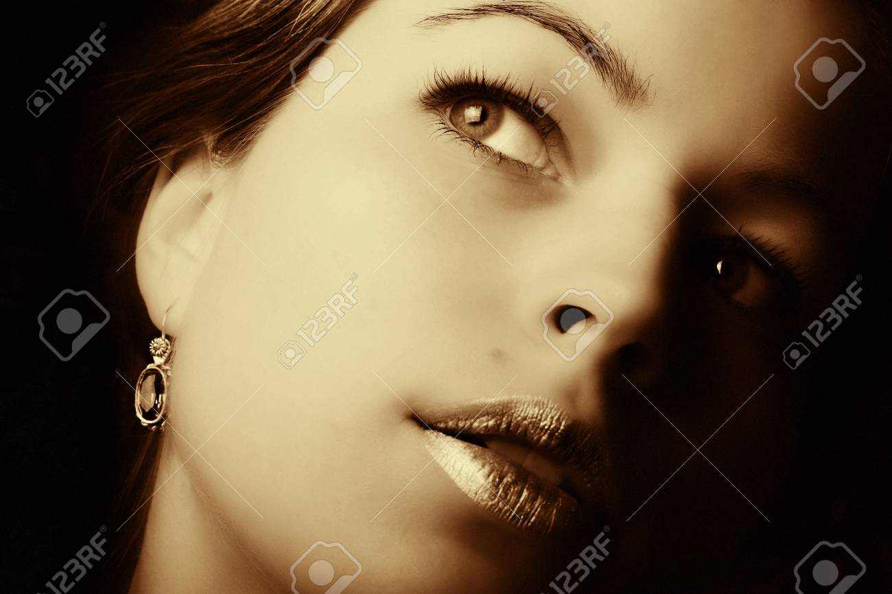 Beautiful woman closeup. Retro art photo Stock Photo - 2301557