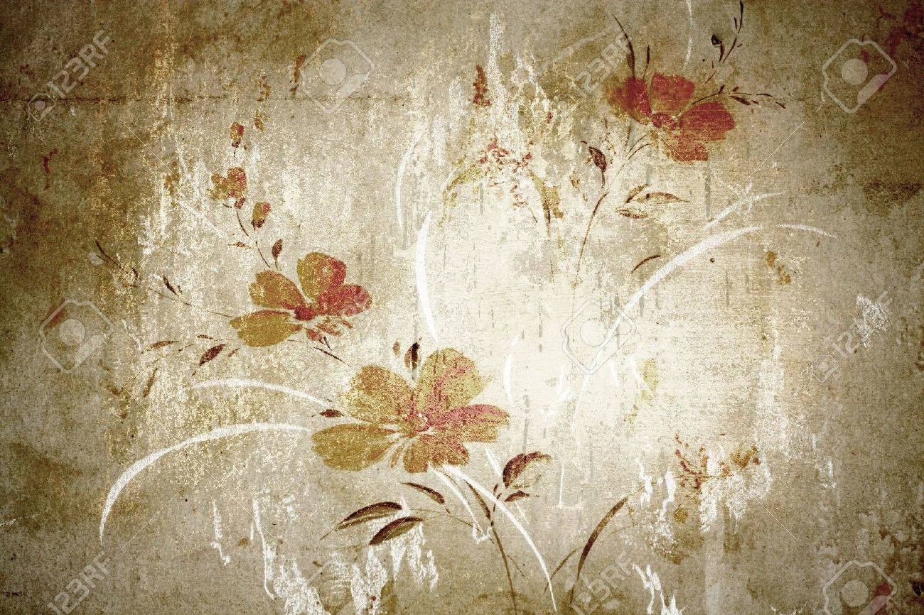 Floral Vintage Wallpaper And Background Stock Photo Picture And