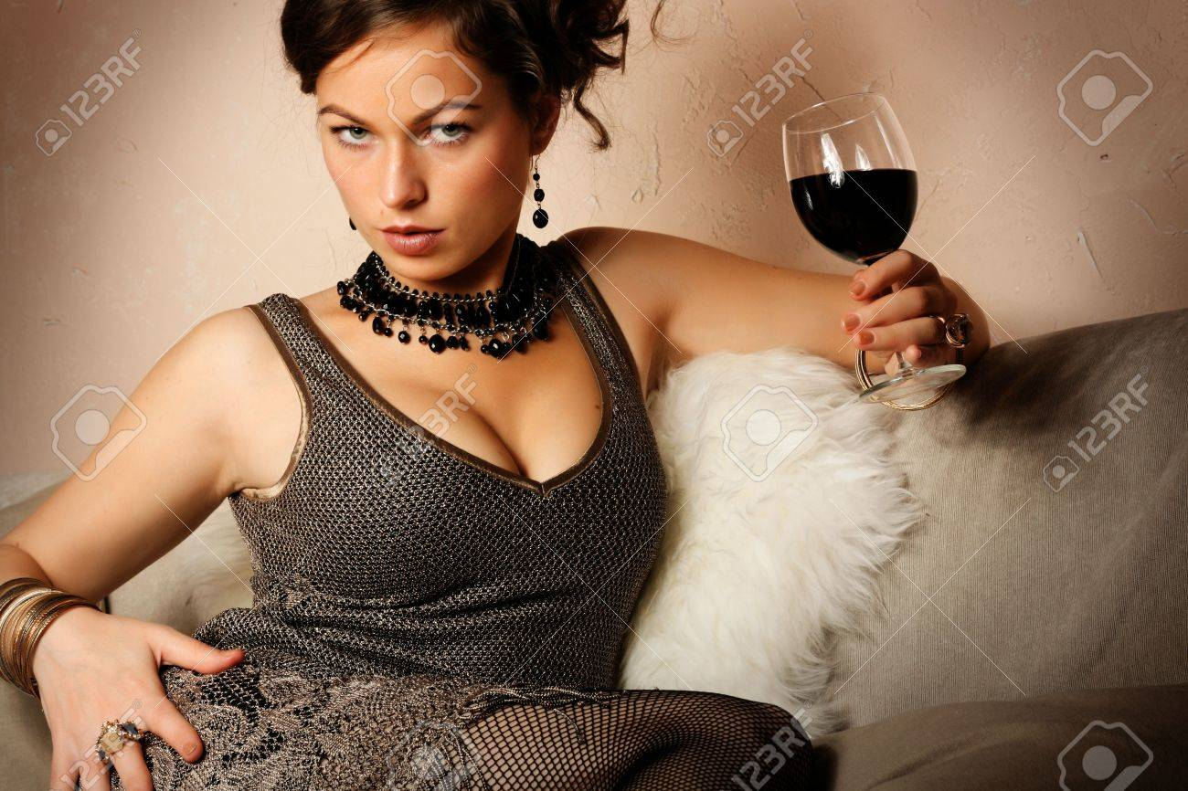 Portrait of beautiful woman with glass red wine Stock Photo - 3653030