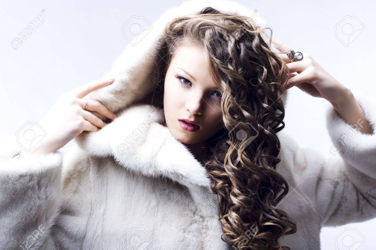 portrait of a beautiful lady in fur coat Stock Photo - 6834711