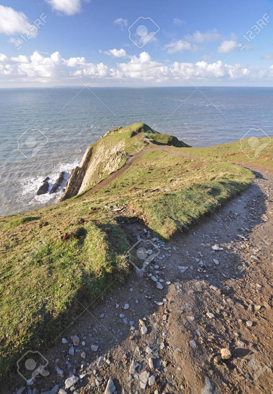 Cote Sud Angleterre sentier côte sud-ouest au point baggy promontoire, croyde, north