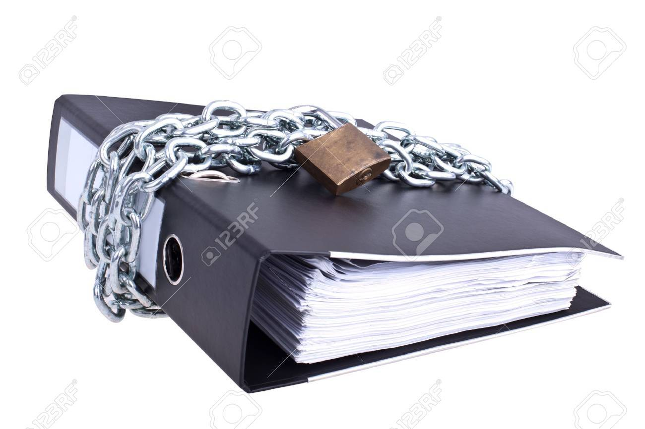 Data safety, folder locked with big chain Stock Photo - 8109570