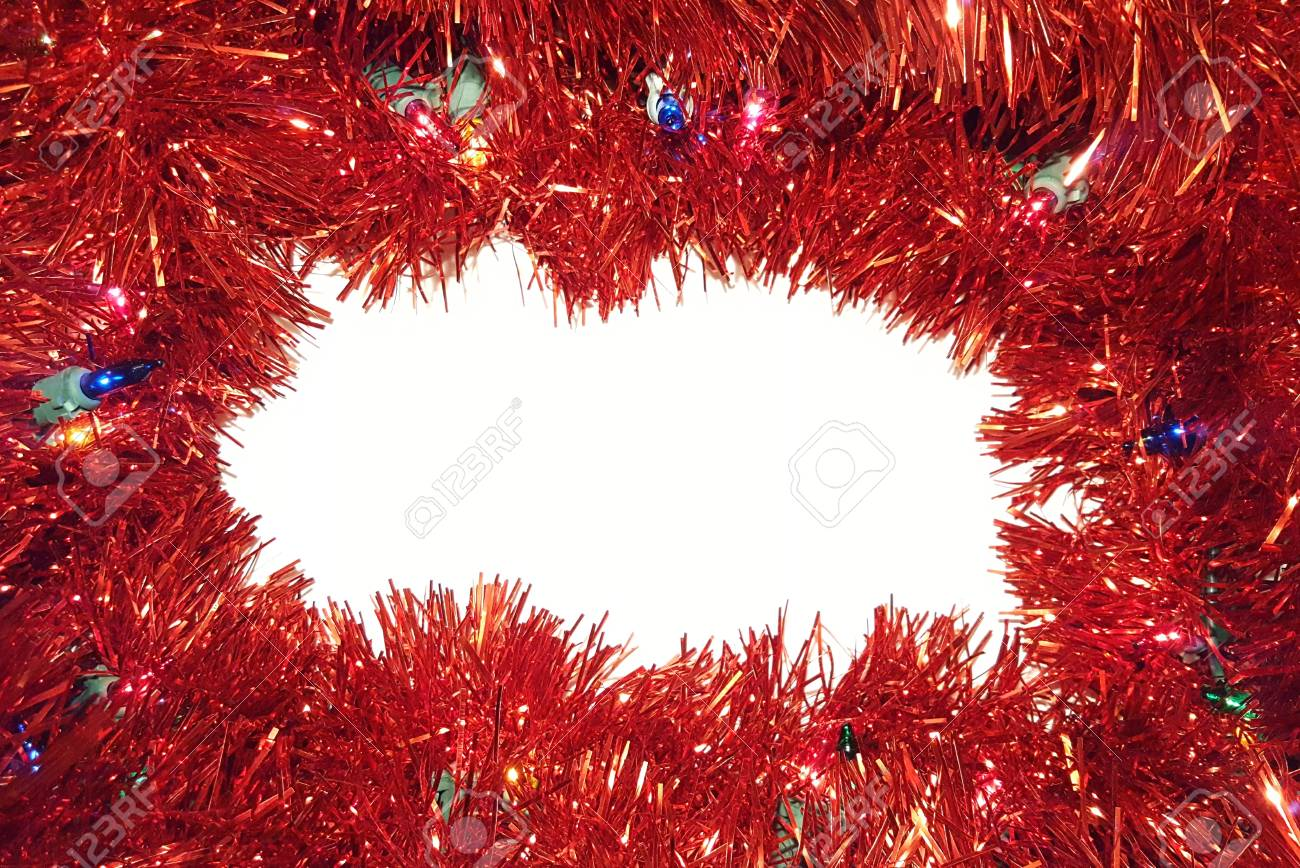Christmas Tinsel Garland.Christmas Tinsel Garland With Lights On White Background Happy