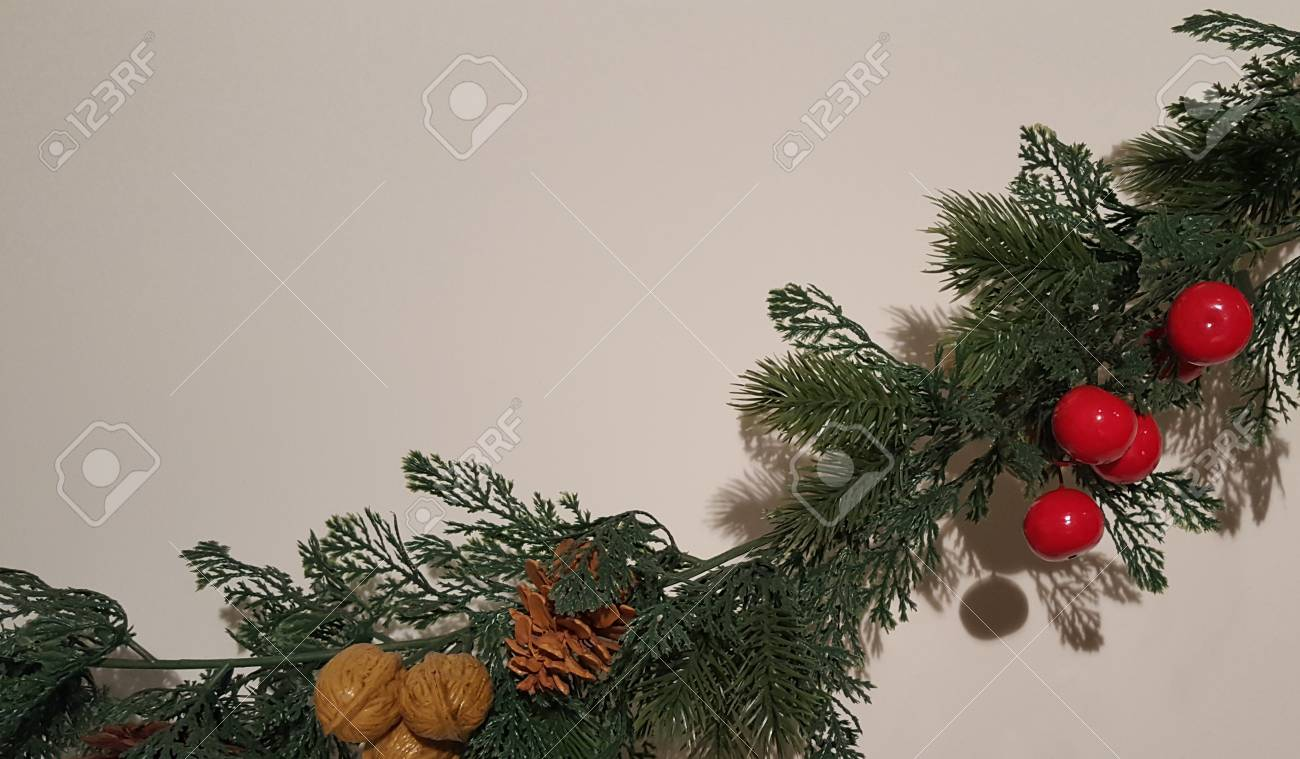 Merry Christmas Garland With Nature Ornaments Happy Holidays
