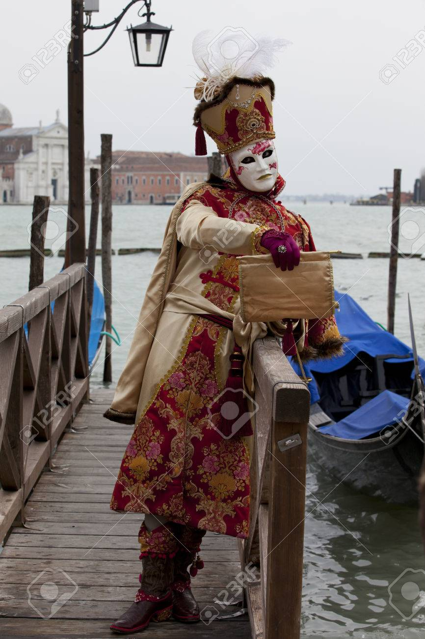 1d3476ad0779 Stock Photo - Venice Italy U2013 February 11 2012 Woman With Typical  Venetian Carnival Costume At The Carnival Of Venice. Shot In St. Marku0027s  Square.