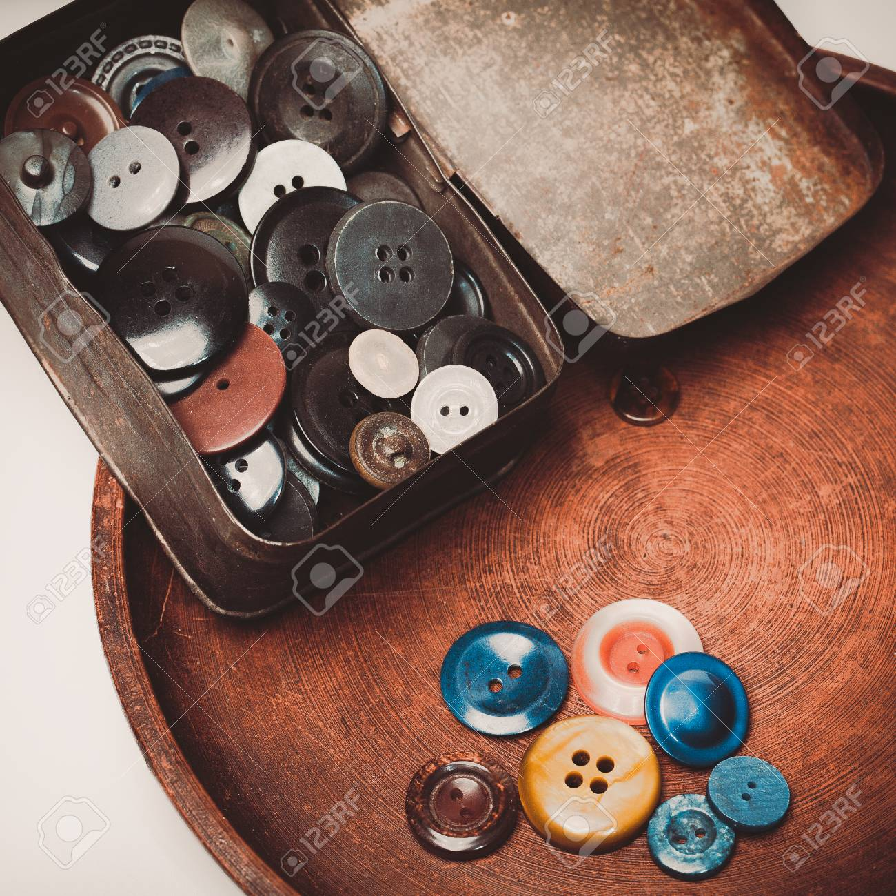 Retro collection of vintage buttons in the old iron box Stock Photo -  36923982