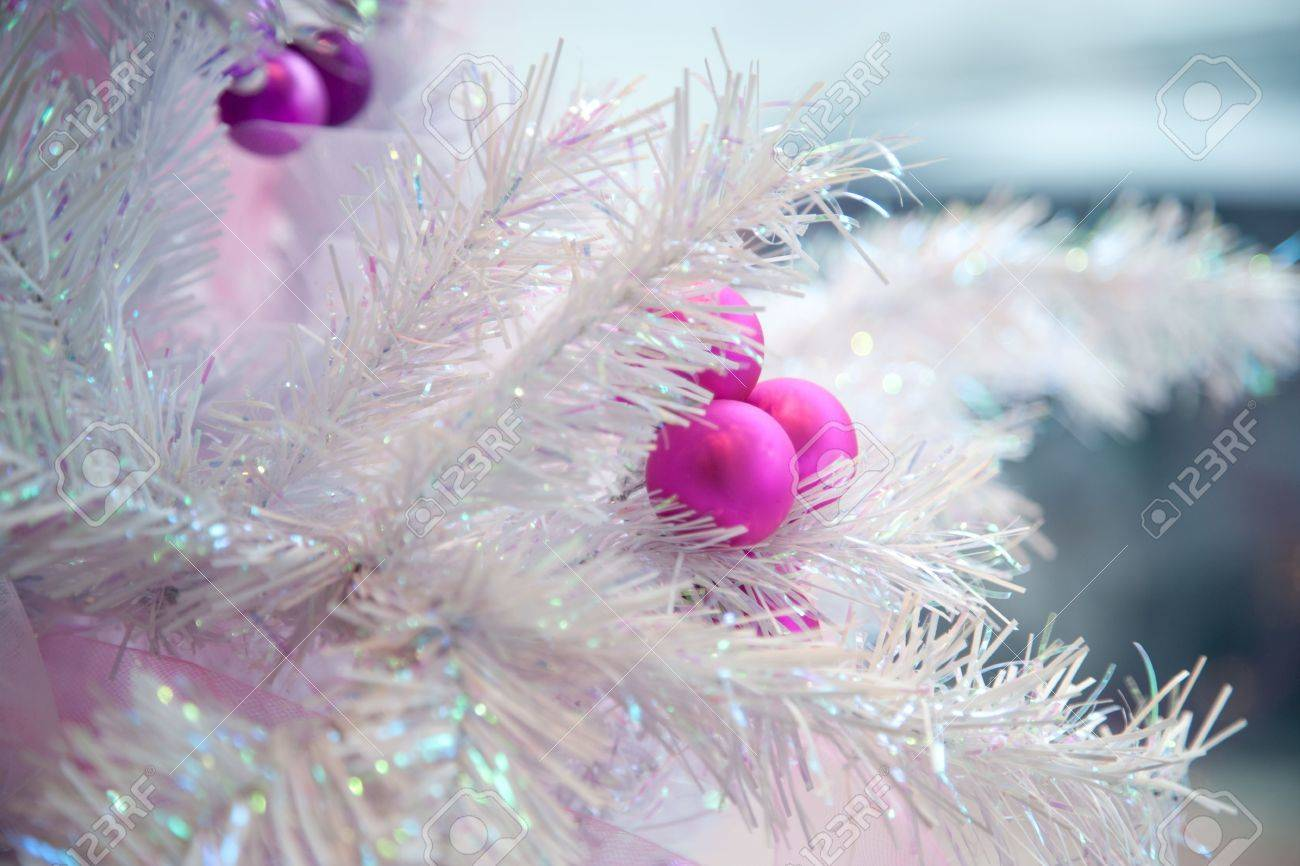 Pink Artificial Christmas Tree.Cropped Close Up Of Branches On A Pink Artificial Christmas Tree