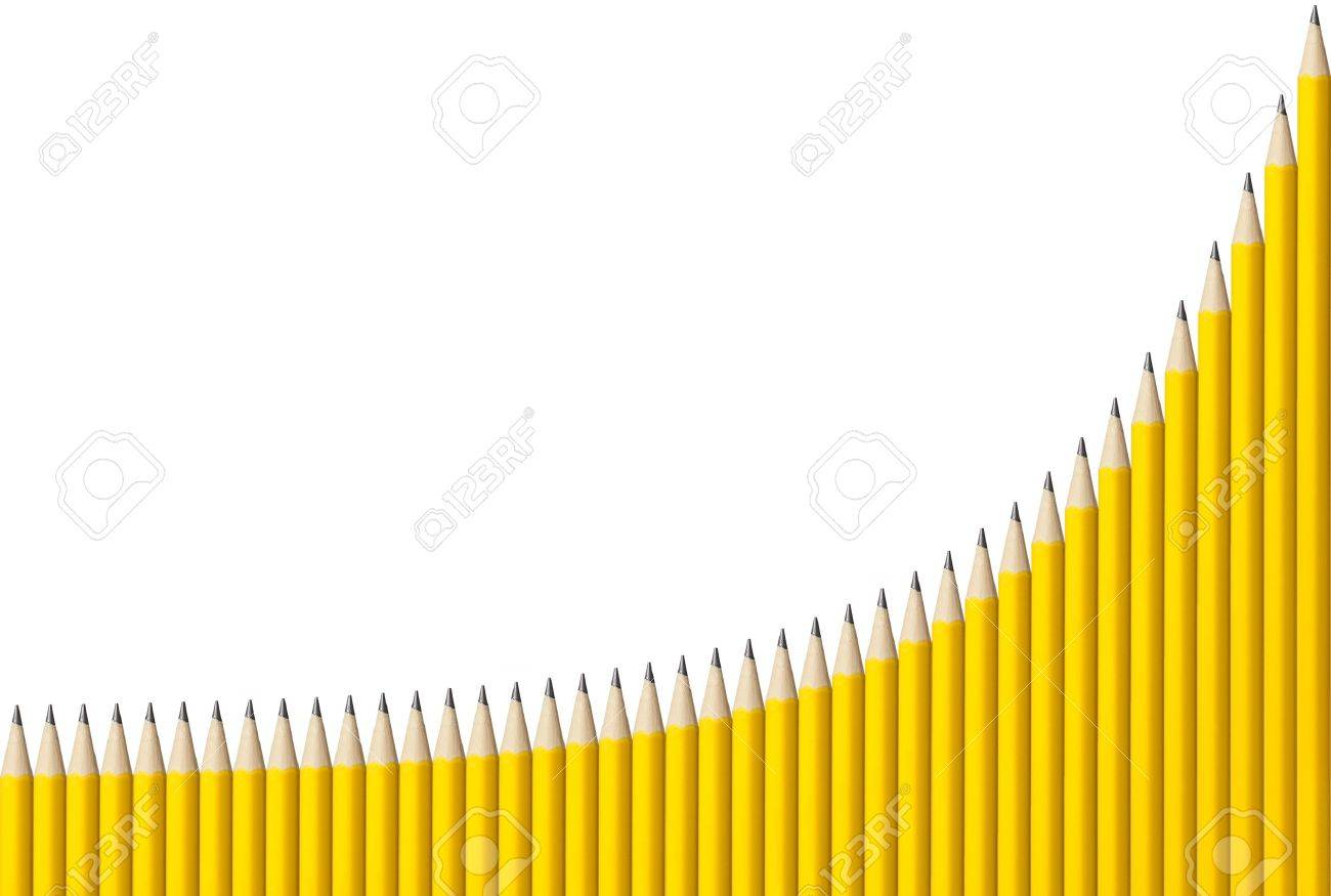 Graph made from 40 yellow pencils showing exponential growth with grid Stock Photo - 14113851