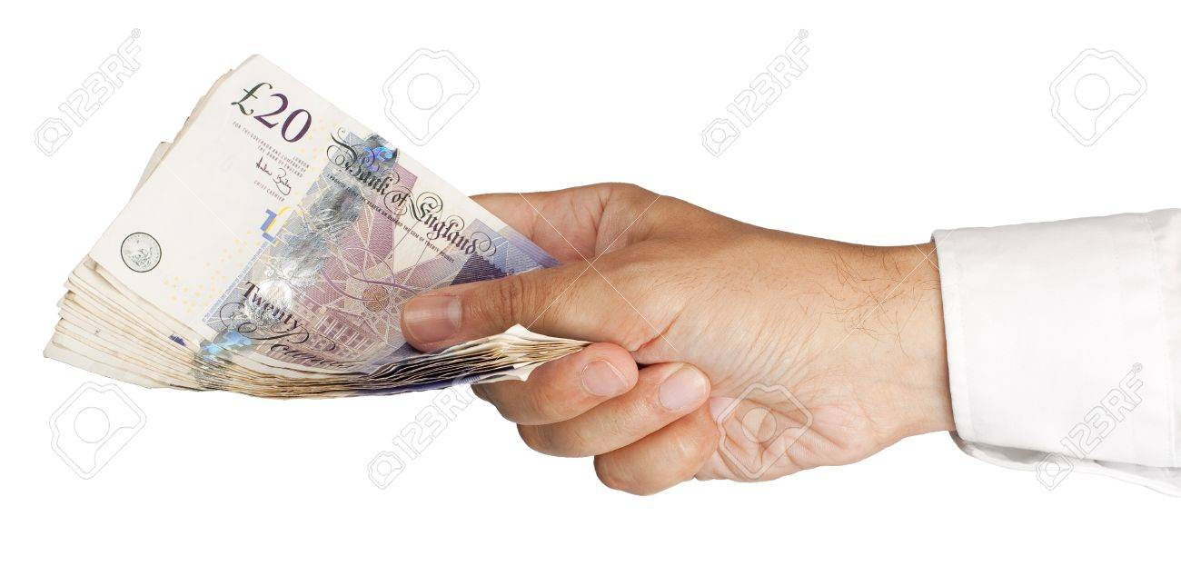 Man�s Hand holding �300 in twenty pound notes Stock Photo - 14813742