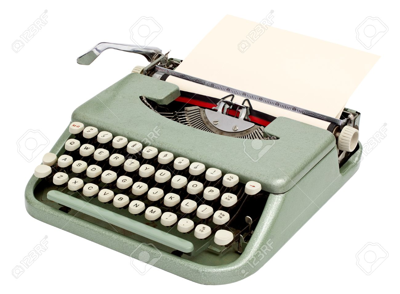 Typewriter with sheet of paper. Isolated on white background Stock Photo - 14973839