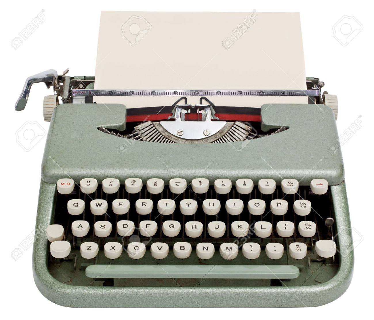 Typewriter with sheet of paper  Isolated on white background Stock Photo - 14973882