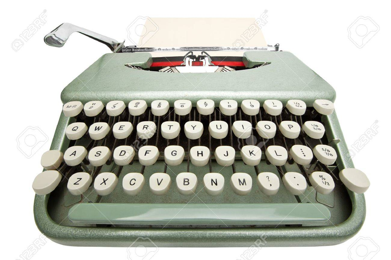 Wide angle shot of typewriter with sheet of paper. Isolated on white background Stock Photo - 15267959