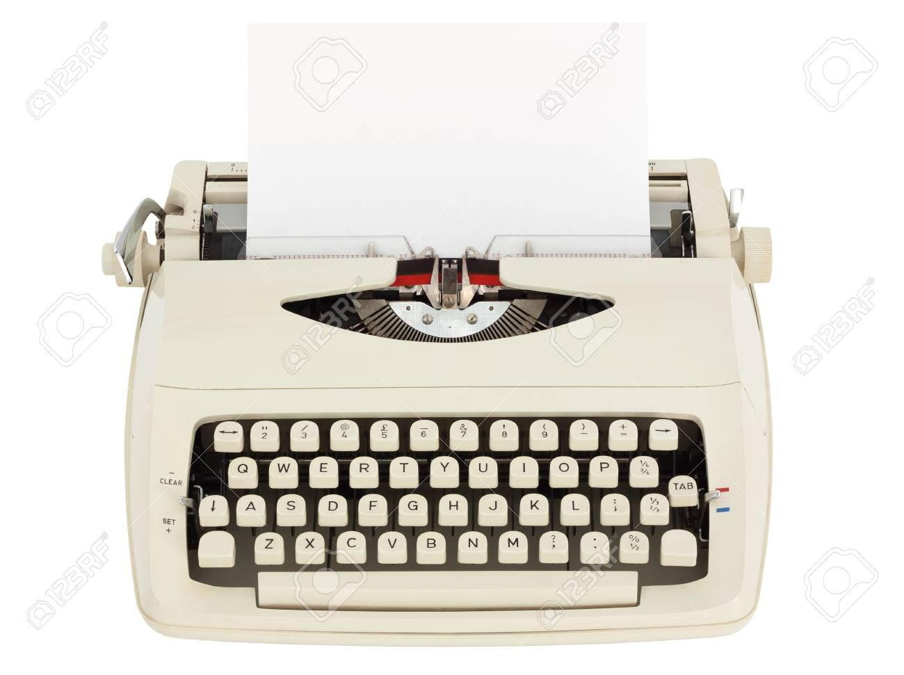 Schreibmaschine Mit Blatt Papier Auf Weißem Hintergrund Mit ...