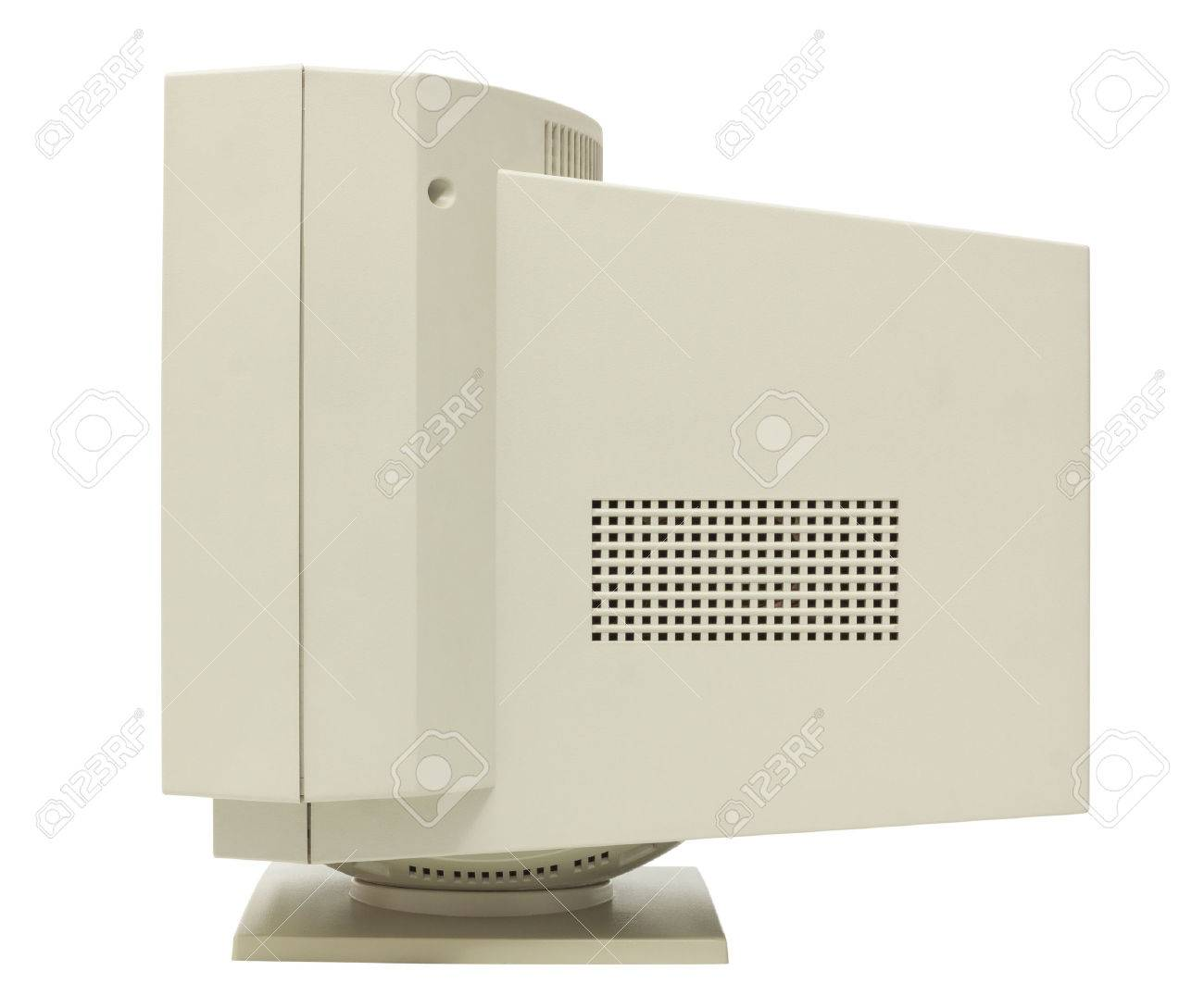 Side view of CRT monitor isolated on white with clipping path Stock Photo - 23845631