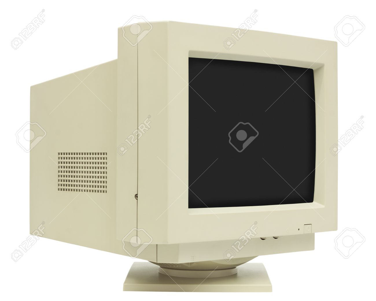 Side view of CRT monitor isolated on white with clipping path - plain dark screen for copy Stock Photo - 23845634