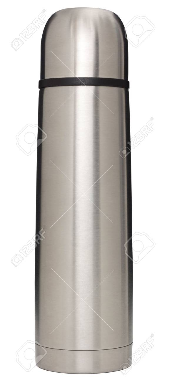 Stainless steel vacuum flask isolated on white with Stock Photo - 24687242