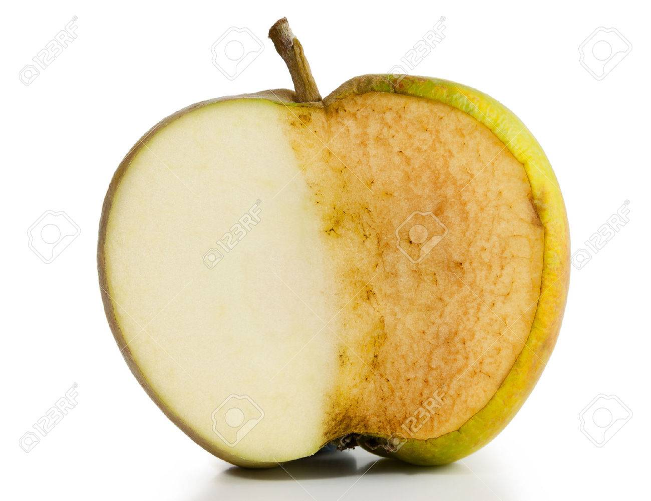Apple sliced in half  Half fresh and half decayed on white background Stock Photo - 25984062