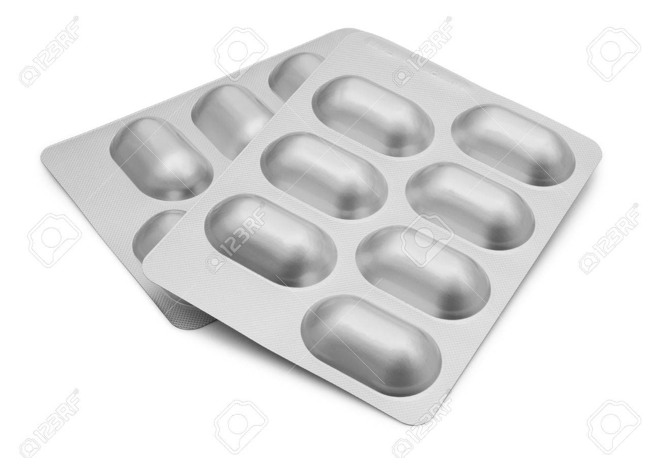 Two Blister Packets of Pills isolated on white background with clipping path Stock Photo - 37440817