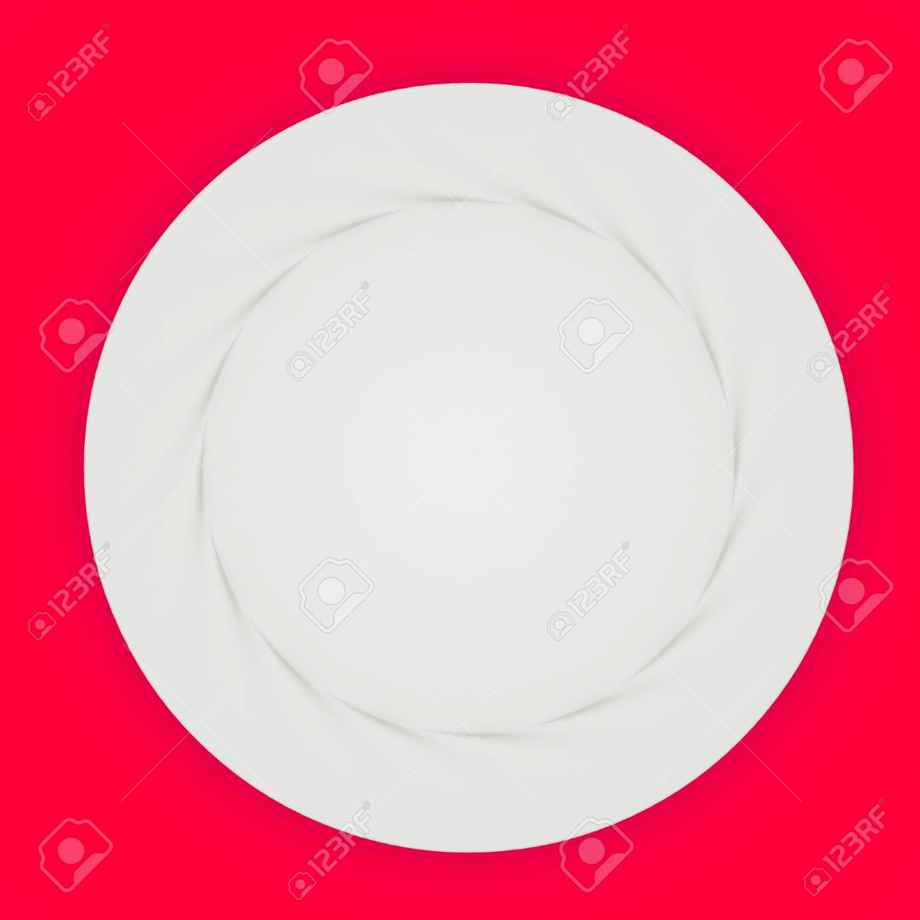 a single plate on red background Stock Photo - 10555714