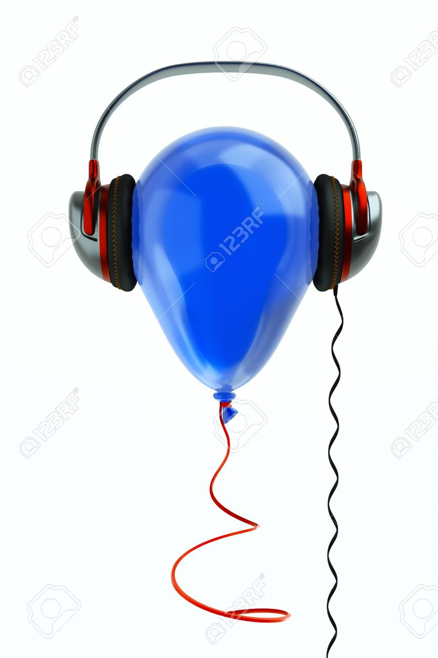 a balloon with headphones on white, music concept Stock Photo - 10768017