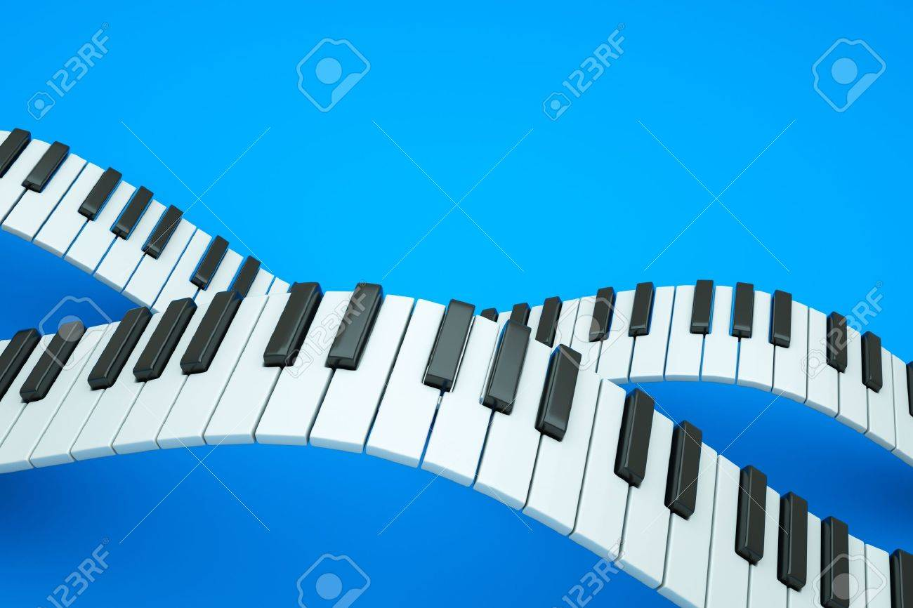 a piano keyboard waves on blue Stock Photo - 11316751