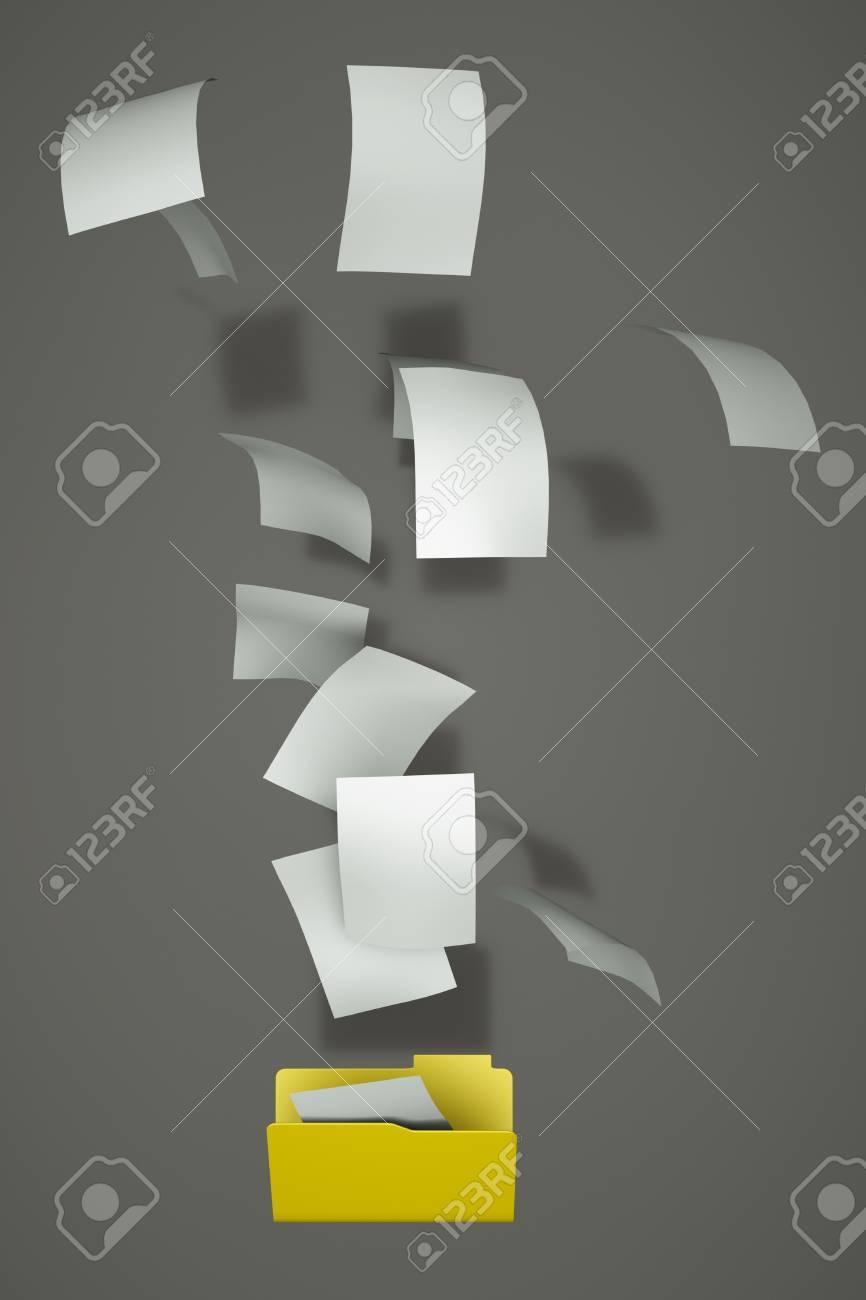 a documents falling in a empty open folder Stock Photo - 12028320