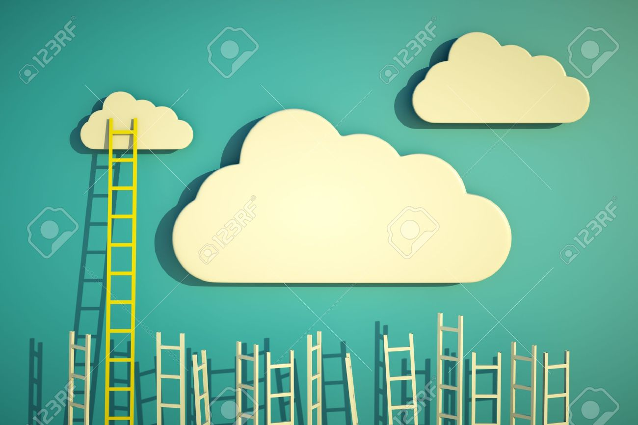 a competition concept, clouds with ladders on blue Stock Photo - 12377594