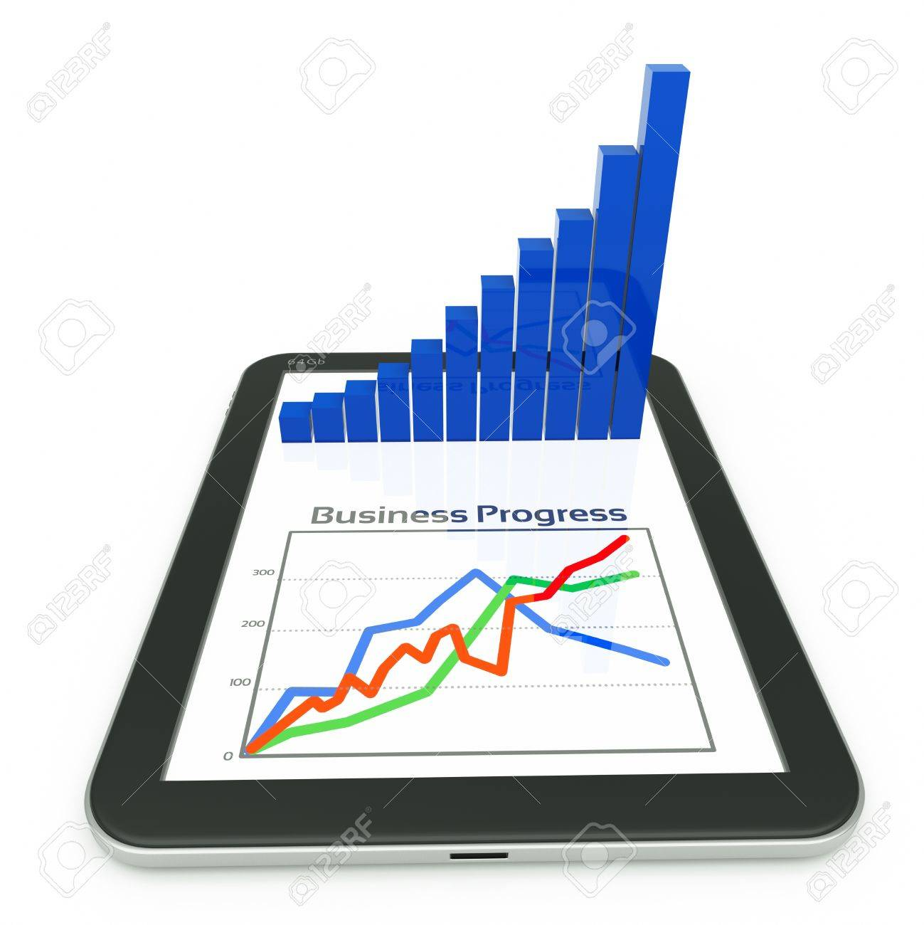 a tablet pc and business diagram as a concept of process of business development Stock Photo - 12711602