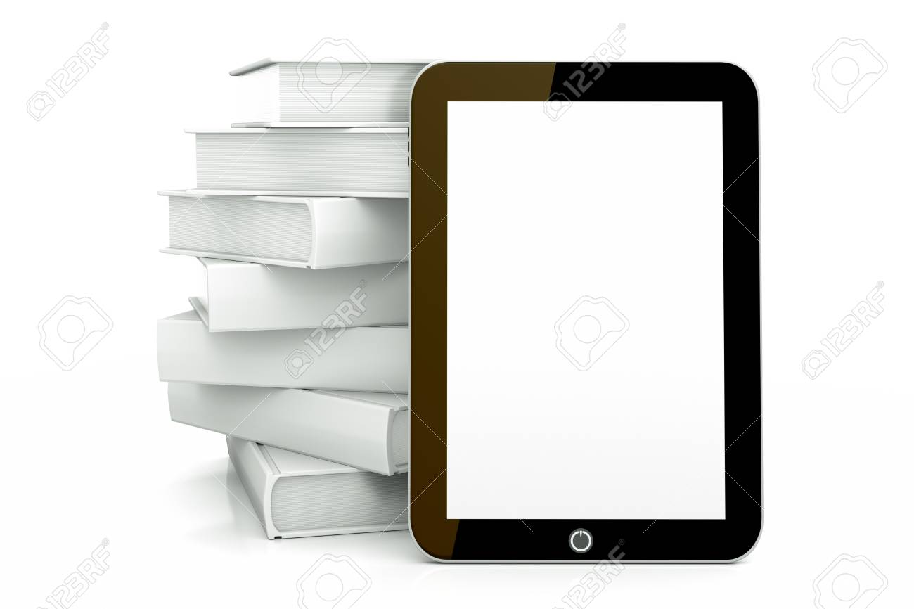 a tablet pc with books isolated on white as a education concept Stock Photo - 13019727