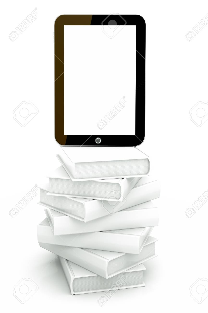 a tablet pc with books isolated on white as a education concept Stock Photo - 13108803