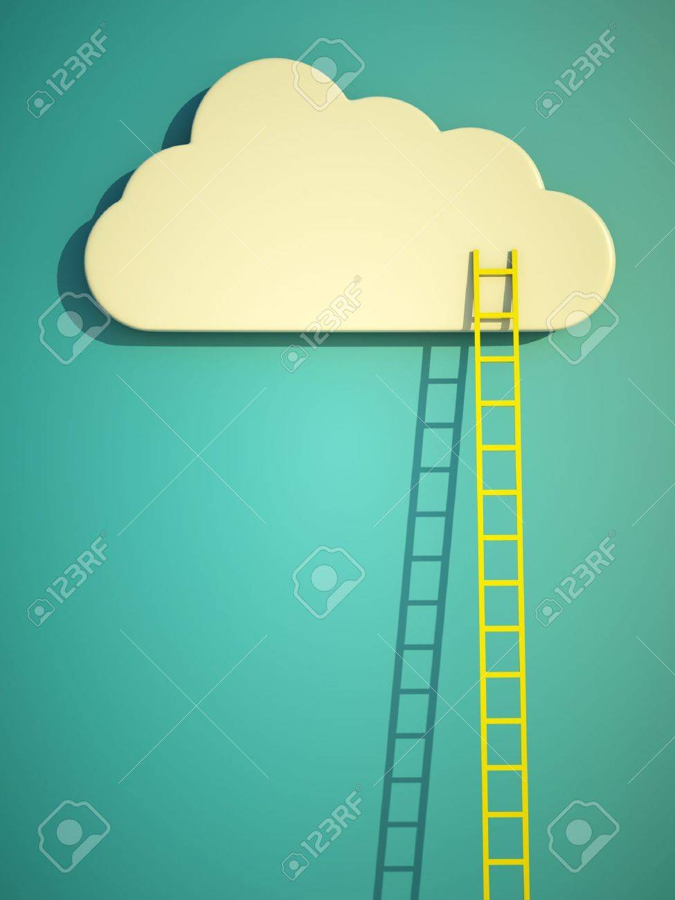 a competition concept, cloud with ladders on blue Stock Photo - 13108809