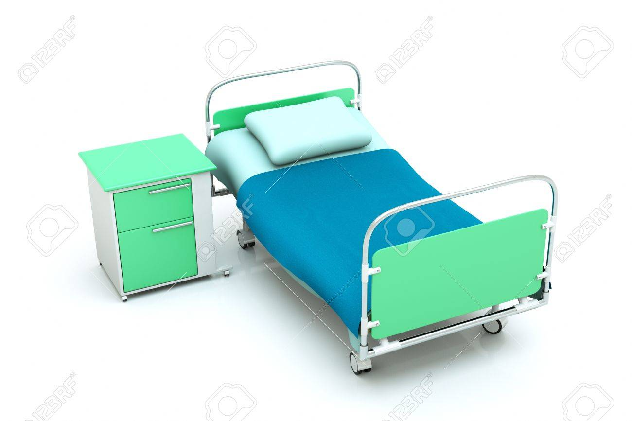 a hospital bed isolated on white Stock Photo - 13108813