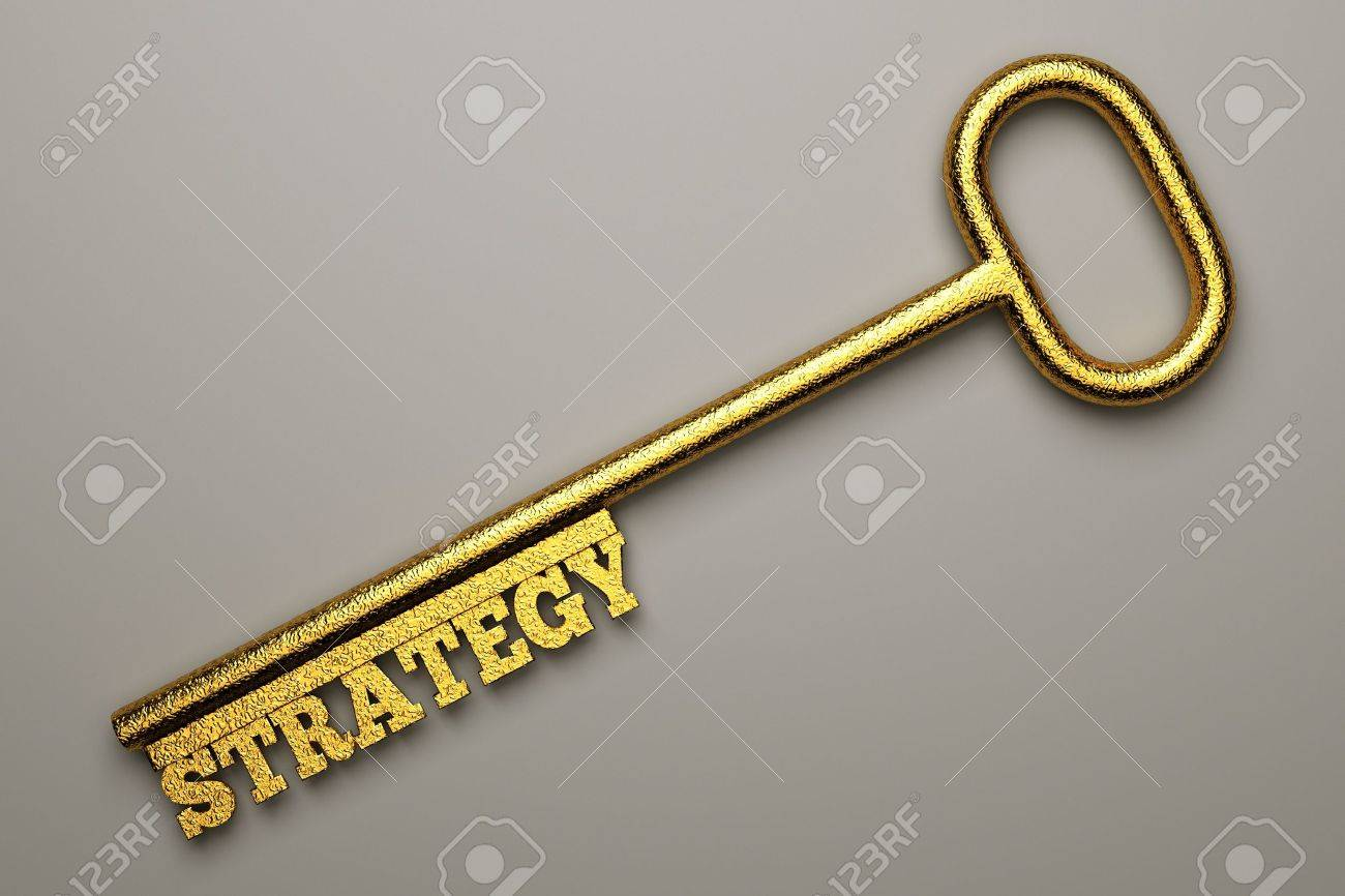 a  golden key with word isolated on white, business concept Stock Photo - 13108846