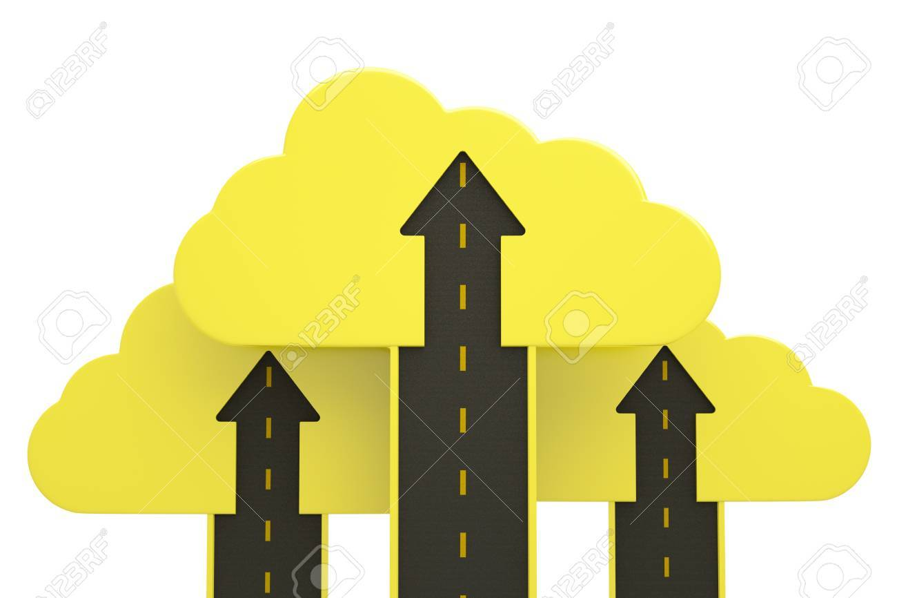 road up with yellow cloud and arrow on white, business success concept Stock Photo - 13760366