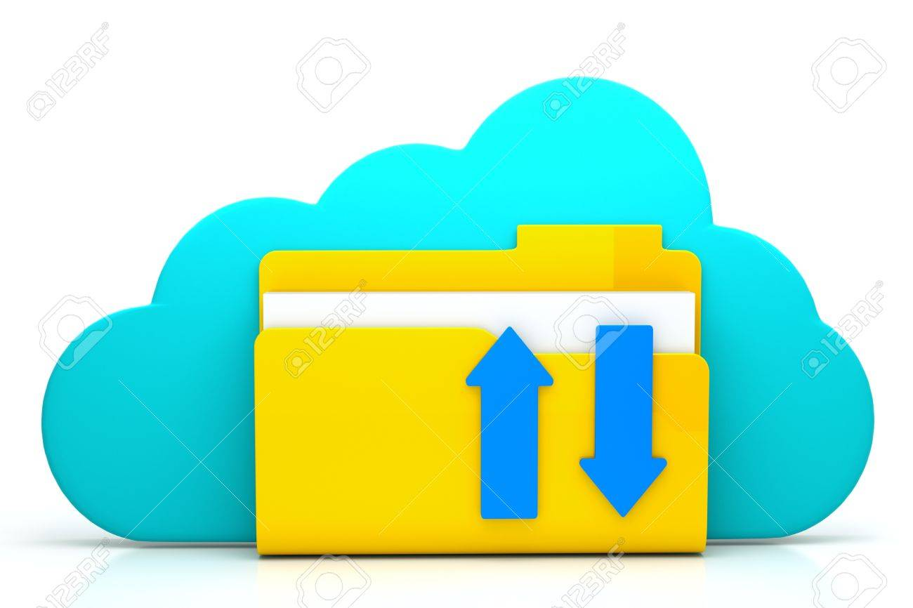 3d render of folder with arrow and cloud as a cloud computing concept Stock Photo - 13930274