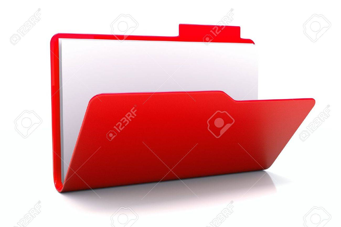 a  open red folder isolated on white, folder icon Stock Photo - 14405317