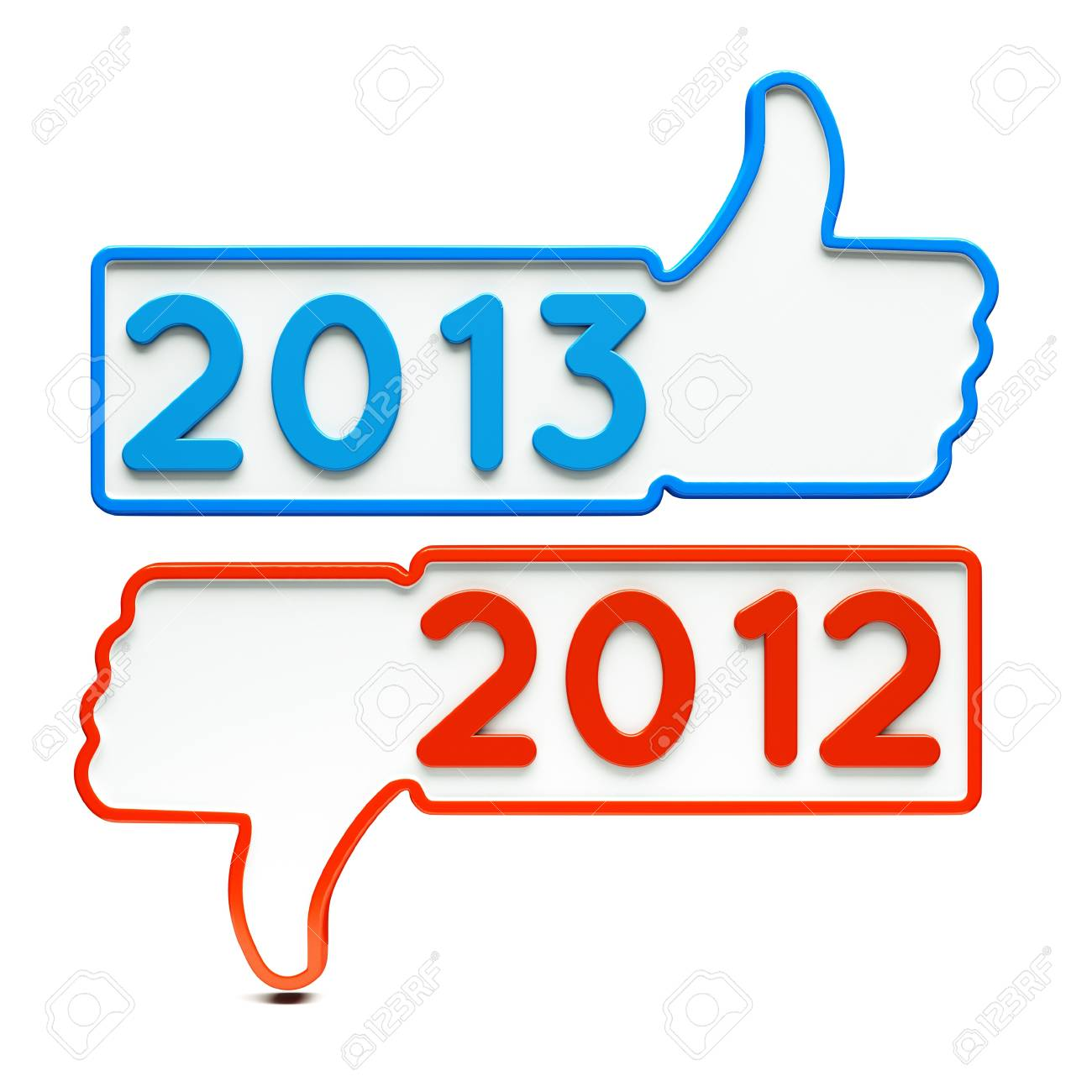 a two Like signs with 2013 and 2012 on white Stock Photo - 14888258