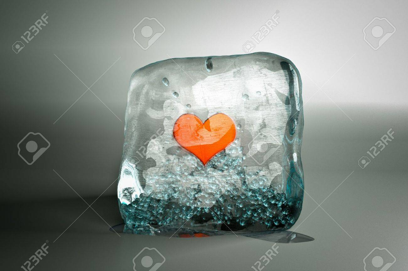 A Frozen Red Heart As A Symbol Of Frozen Love, Ice Cube With Heart Stock