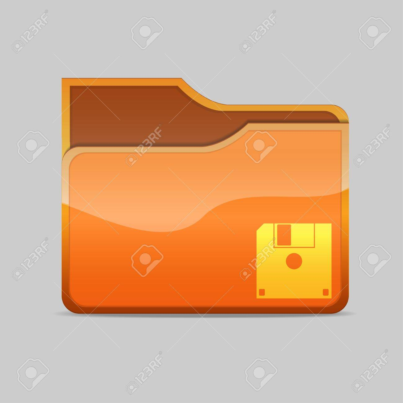 a blue  folder icon with diskette inside Stock Photo - 16484370