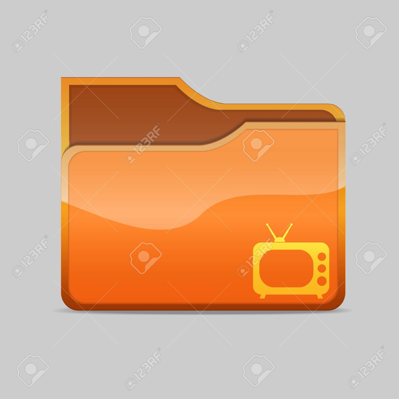a  folder icon with tv inside Stock Photo - 16484504