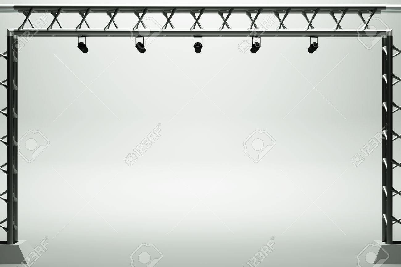 A Concert Stage With Metal Frame Stock Photo, Picture And Royalty ...