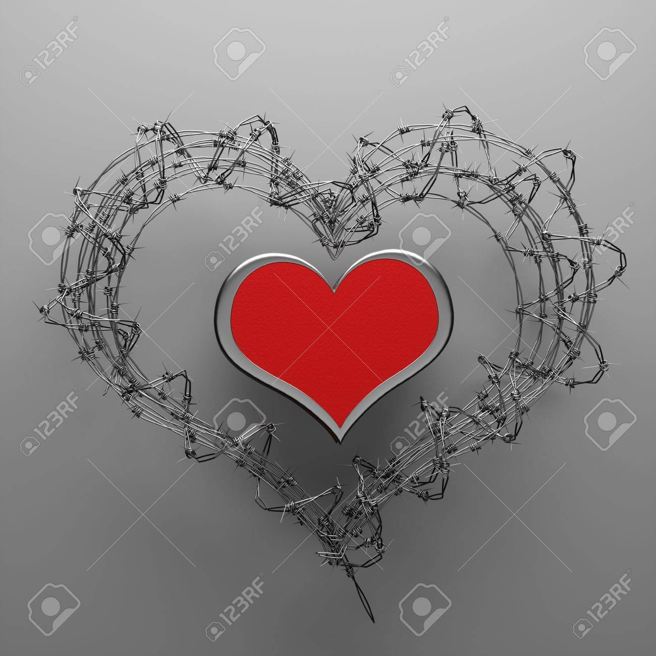 A 3d Barbed Wire Heart, Creative Teen Love Concept Stock Photo ...
